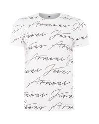 Armani Jeans | White Regular Fit All Over Script Logo T-shirt for Men | Lyst