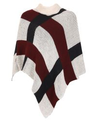 Izabel London | Natural Roll Neck Checked Poncho | Lyst