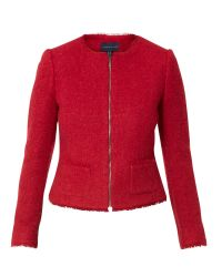 Helen Mcalinden - Red Boucle Jewel Collar Jacket - Lyst