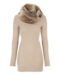 Jane Norman | Natural Faux Fur Collar Jumper | Lyst