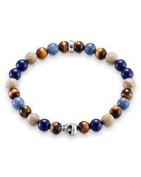 Thomas Sabo | Blue Rebel At Heart Stretch Silver Skull Bracelet | Lyst