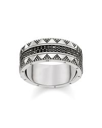 Thomas Sabo | Nile Trasures Black Zirconia Chunky Ring | Lyst