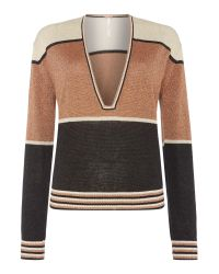 Free People | Metallic Gold Dust Longsleeve V-neck Pullover Top In Gold | Lyst