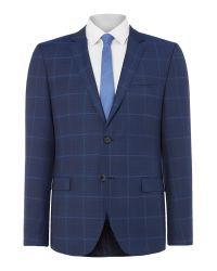 HUGO | Blue Helum Slim Fit Windowpane Check Suit Jacket for Men | Lyst