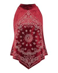 Free People | Embroidered Bandana Bling Top In Wine | Lyst