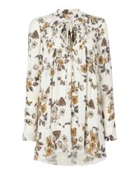 Free People   White Pebble Crepe Printed Tunic In Ivory Combo   Lyst