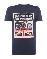 Barbour | Blue Union Jack Motor Print Short Sleeve T-shirt for Men | Lyst
