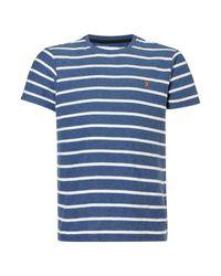Farah   Blue Pickering Herringbone Stripe T-shirt for Men   Lyst