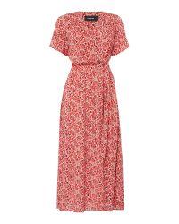 MINKPINK   Red Wanderlust Short Sleeved Floaty Midi Dress   Lyst