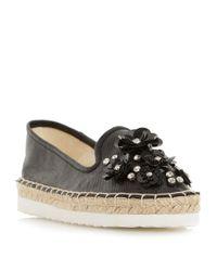 Dune | Black Enista Floral Embellished Loafers | Lyst