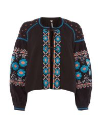 Free People | Embroidered Swing Jacket In Black | Lyst