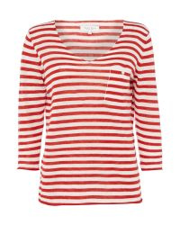 Part Two | Red V-neck Stripe Top With Pocket | Lyst