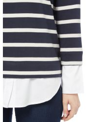 Part Two - Blue Layered Shirt Stripe Jumper - Lyst