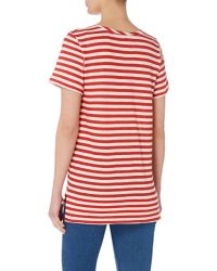 Part Two - Red Stripe Round Neck Tee With Pocket - Lyst