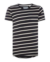 Guess | Black Striped Crew Neck T-shirt for Men | Lyst