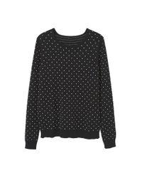 Mango | Black Embossed Polka-dot Sweater | Lyst