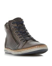 Dune | Gray Supernova Embossed High Top Trainer for Men | Lyst