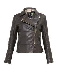 Ted Baker | Black Lizia Leather Biker Jacket | Lyst