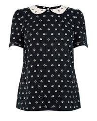 Oasis | Black Spot Collar Top | Lyst
