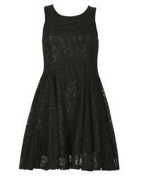 Izabel London | Black Lace Effect Skater Dress | Lyst