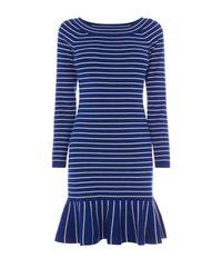 Karen Millen   Blue Fine Stripe Knit Dress   Lyst