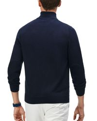 Lacoste - Blue Zip Through Knit Sweater for Men - Lyst