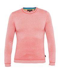 Ted Baker | Pink Millar Textured Wool-blend Crew Neck Jumper for Men | Lyst