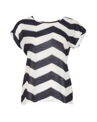 Izabel London | Blue Chevron Print T-shirt | Lyst