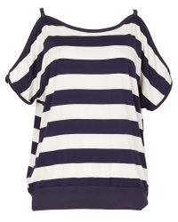 Izabel London | Blue Block Striped Cold Shoulder Top | Lyst