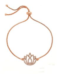 Melissa Odabash | Metallic Rose Gold Lotus Crystal Slider Bracelet | Lyst