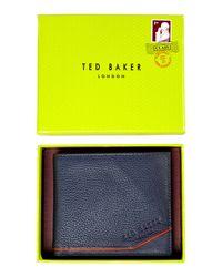 Ted Baker | Blue Coloured Leather Coin Pocket Wallet for Men | Lyst