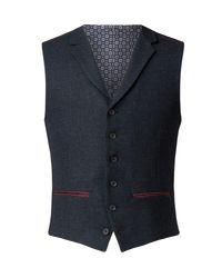 Racing Green | Blue Men's Leigh Navy Herringbone Waistcoat for Men | Lyst