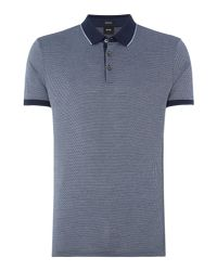 BOSS - Blue Men's Prout 03 Micro Jacquard Polo Shirt for Men - Lyst