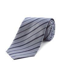 HUGO   Blue Silk Threaded Stripe Tie for Men   Lyst