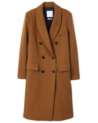 Mango - Yellow Lapels Wool Coat - Lyst