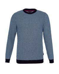 Ted Baker - Blue Coftini Crew Neck Knitted Jumper for Men - Lyst