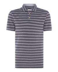 Howick - Blue Monroe Textured Stripe Short Sleeve Polo for Men - Lyst