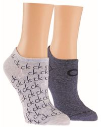 CALVIN KLEIN 205W39NYC - Blue Repeat Logo 2 Pair Pack Trainer Socks - Lyst