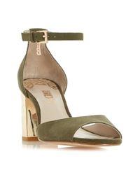 Biba - Green Martinez Embossed Heel Sandals - Lyst