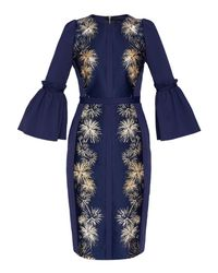 Ted Baker - Blue Jeeane Stardust Flute Sleeve Midi Dress - Lyst