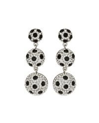 Mikey - Black 3 Drop Earrings With Spots - Lyst