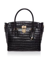 Michael Kors - Black Hamilton Large Croc Satchel Bag - Lyst