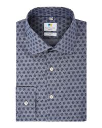 Richard James - Gray Chambray Printed Slim Fit Shirt for Men - Lyst