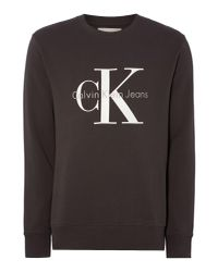 Calvin Klein | Gray Crew Neck Hwk Crew Sweater for Men | Lyst