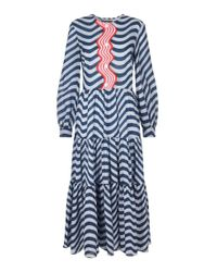 House of Holland - Blue Wavy Trim Tiered Dress - Lyst