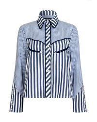 House of Holland - Blue Oversized Cropped Cowboy Shirt - Lyst