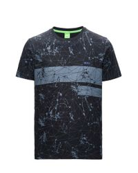 BOSS Green - Black Regular-fit Printed T-shirt In Single Jersey for Men - Lyst