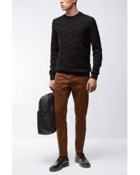 HUGO - Brown 'helgo' | Regular Fit, Stretch Wool Blend Pants for Men - Lyst