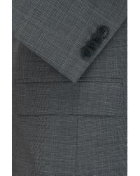 HUGO - Gray Slim-fit Graph Check Suit In Yarn-dyed Virgin Wool for Men - Lyst