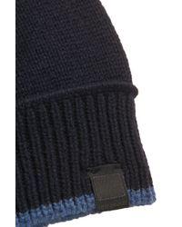 BOSS Orange - Blue Contrast-piped Hat In Italian Yarn for Men - Lyst